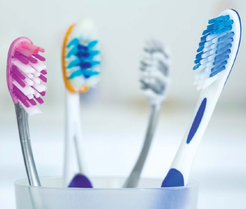 Sizing up toothbrushes.