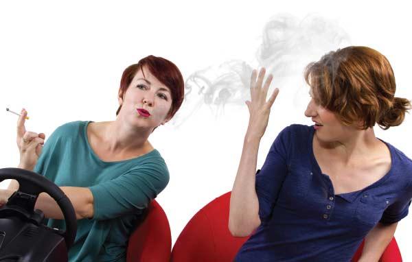 Woman smoking.