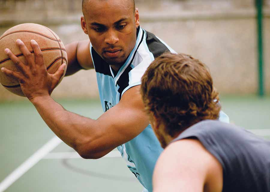 Playing sports.